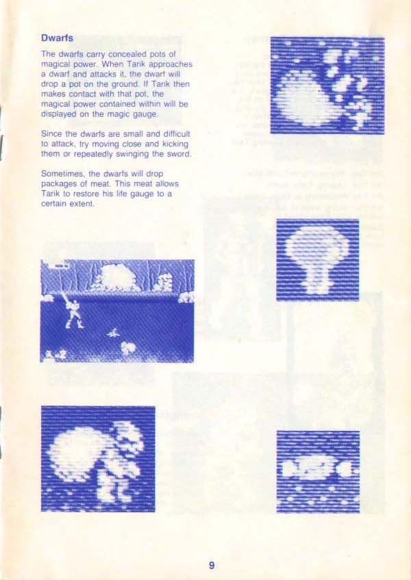 Golden Axe Instruction manual